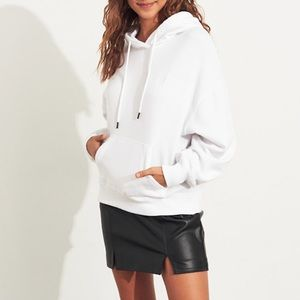 Basic White Hoodie from Hollister